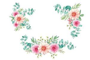 set frame eucalyptus watercolor for wedding invitation vector
