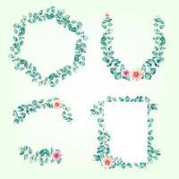 set of template frame eucalyptus watercolor vector illustration design