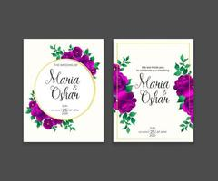 Beautiful decorative greeting card or invitation with floral design set vector