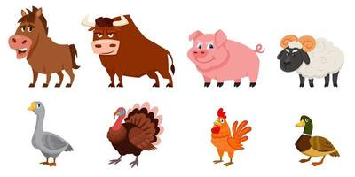 Set of male animals side view. vector