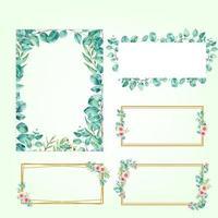 Set of frame rectangle eucalyptus watercolor vector illustration