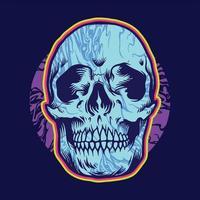 Psychedelic Bones Skull Head vector