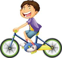 A boy riding a bicycle cartoon character isolated on white background vector