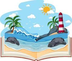 libro abierto con escena de playa en blanco vector