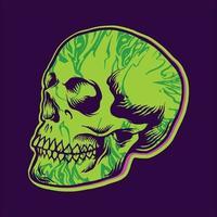 Hippie Green Skull Texture vector