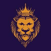 león elegante con corona vector