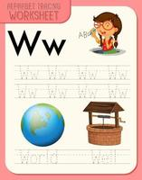 Alphabet tracing worksheet with letter W and w vector