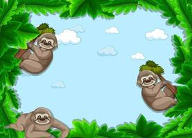 Empty tropical leaves frame banner with sloth cartoon character vector