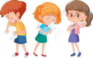 Set of different kids cartoon character have flu symptom vector