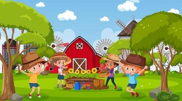 Farm scene with many kids planting flowers vector