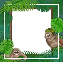 Empty banner with tropical leaves frame and sloth cartoon character vector