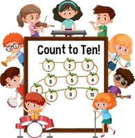 Count to ten number board with many kids cartoon character vector