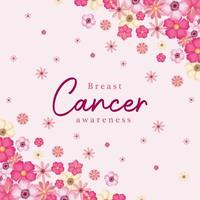 flores rosadas para el diseño del vector de la conciencia del cáncer de mama