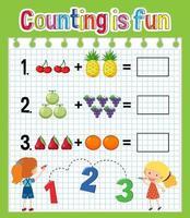 Math count number worksheet vector