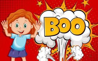 BOO word on explosion background with girl cartoon character