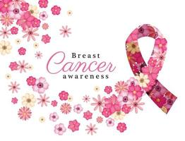 pink flowers in ribbon for breast cancer awareness vector design