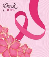 ribbon with flowers for pink hope vector design