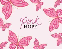 mariposas para el diseño de vectores de esperanza rosa