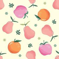 Summer seamless pattern with fruits. Festive cartoon background for textile. Vector