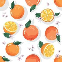 Summer seamless pattern with oranges and blossom. Sweet citrus background. Vector