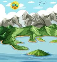 Land and water geography landscape vector