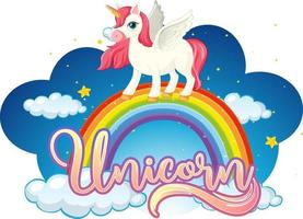 personaje de dibujos animados de unicornio de pie sobre un arco iris con fuente de unicornio