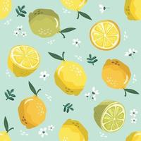 Summer seamless pattern with lemons and blossom. Sweet tropical background. Vector