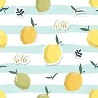 Summer seamless pattern with lemons. Festive tropical background. Vector