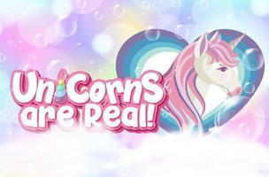 lindo unicornio con unicornios es un símbolo real sobre fondo pastel vector