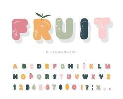 Cute cartoon font. Pastel colors alphabet. Girly. Vector