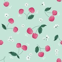 Spring seamless pattern with cherry and blossom. Festive cartoon background. Vector