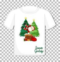 Santa Claus cartoon character in Christmas theme on t-shirt on transparent background vector