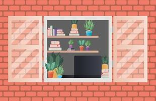 window with view inside room vector design