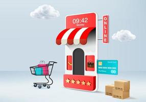 3D rendering of online shopping on smartphone with credit card and shopping cart