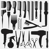 Hair Accessories Tools collection vector design templates set