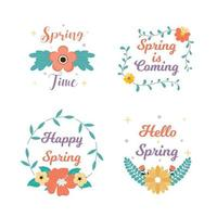 Spring time badge and label collection. Hello spring. Spring is coming. Hand drawn. Greeting card. Vector illustration. Flat design.
