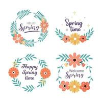 Spring badge and label collection. Hello spring. Greeting card. Vector illustration. Hand drawn. Flat design.
