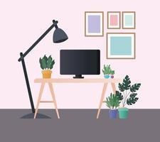 desk with computer lamp and plants in room vector design