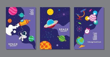 set of banner templates. universe, space galaxy, design. vector illustration