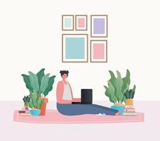 Woman with laptop working on the carpet vector design