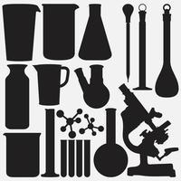 Conjunto de plantillas vectoriales de colección de herramientas de laboratorio de ciencia vector