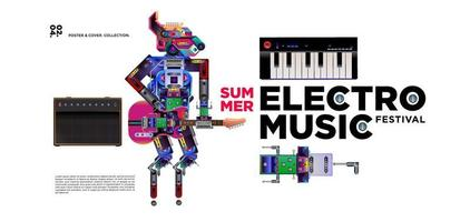 Electronic music festival poster and banner design vector