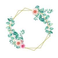 Hexagon frame gold eucalyptus watercolor for wedding invitation design vector