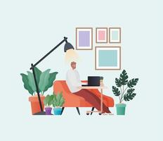 Man with laptop working on orange couch vector design