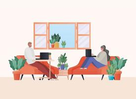 Man and woman with laptop working on orange couches vector design