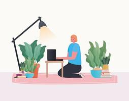 Woman with laptop working on the carpet with lamp vector design