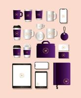 Modern stationery mock-up template pack vector