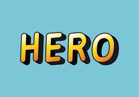 3d hero lettering on blue background vector design