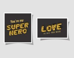 3d super hero and love lettering on gray backgrounds vector design