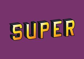 3d super lettering on purple background vector design